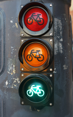 city traffic: All three lights as a traffic sign in the city