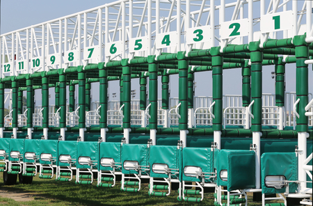 race track: Horse track with starting gates at a race track summertime