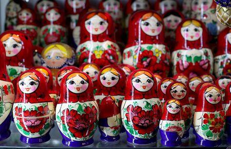 matreshka: Group of russian matreshka dolls as souvenirs