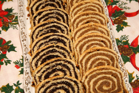 Homemade traditional poppy seed and walnut rolls for Christmas holiday.Beigli is the famous traditional Hungarian Christmas cake