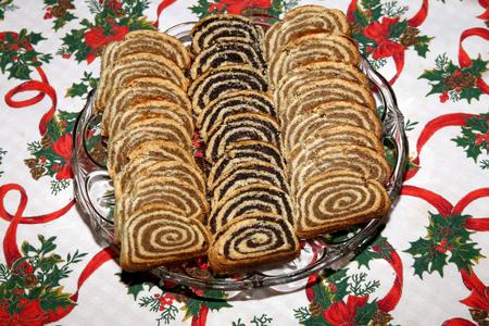 Beigli 유명한 전통 헝가리어 크리스마스 케이크입니다 스톡 콘텐츠