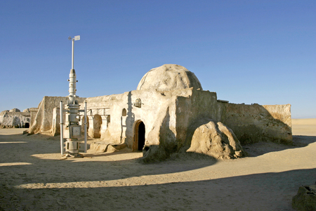 NEFTA; TUNISIA - DEC 8; Original movie scenery for Star Wars film A New Hope near Nefta city in the Sahara desert; Tunisia December 08; 2004 Publikacyjne