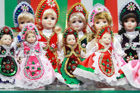 souvenir traditional: Traditional hungarian artistic dress on puppets as souvenir