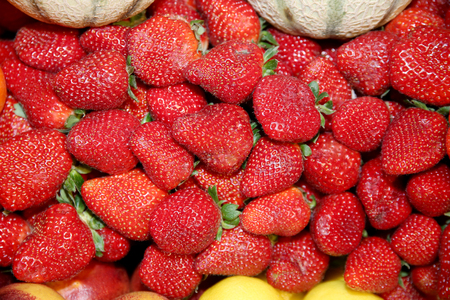 vitamin store: Freshly picked strawberries for sale on the market