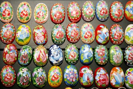 manually: BUDAPEST, HUNGARY - MARCH 4, 2016: Handmade colorful easter eggs for sale as a festive symbol at Budapest Market Hall