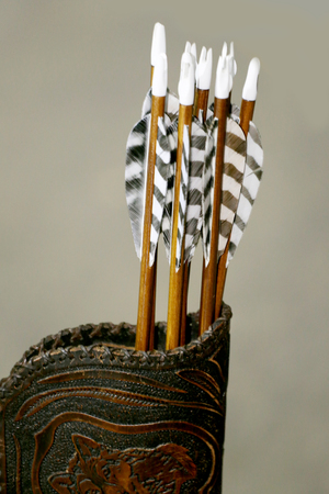양궁 스포츠를위한 화살표 세트 스톡 콘텐츠