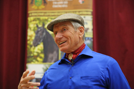 edu: 10 MAY. Portrait of the american horse specialist Monty Roberts aka The horse whisperer. 81 years old Monty Roberts portrayed at an instructor event in Mezohegyes Hungary on 10 May 2016. Editorial
