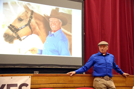 roberts: 10 MAY. Portrait of the american horse specialist Monty Roberts aka The horse whisperer. 81 years old Monty Roberts portrayed at an instructor event in Mezohegyes Hungary on 10 May 2016. Editorial