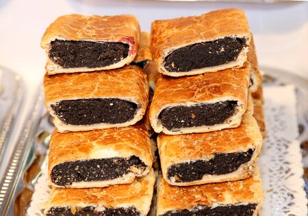 poppy seeds: Hungarian specialty stuffed strudel with poppy seeds