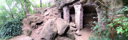 high priest: Cave houses for monks in Tihany peninsula, Hungary Europe