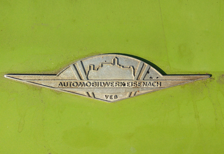 BALATON HUNGARY - AUG 12 2016: Retro Wartburg 353 W car logo at 2016 Retro Auto Parade. This type produced East Germany between 1966-1988