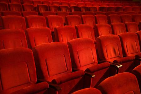 Charmant Interiors Empty Reddish Cinema Chairs Seats In Low Key Indoors Stock Photo    66716817