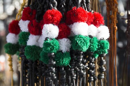Traditional tricolor leather whips for hungarian sheperds and horsemen. Shallow depth of fields
