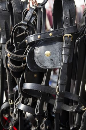 horse collar: Hand made horse-drawn carriage equipment for horses and horsemen for sale on retail market rural scene