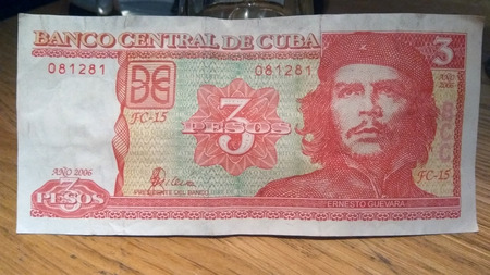 Head of Ernesto Che Guevara on a Cuban 3 pesos