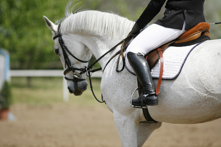 Unknown jumping rider on horseback overcomes barriers Stock Photo