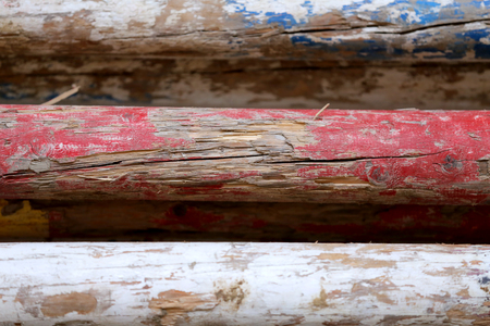 Multi colored image of show jumping poles at the show jumping arena. Wooden barriers for jumping horses as a background Stock Photo