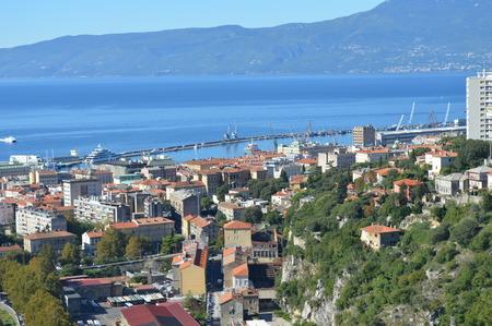 Panoramic view photo of Rijeka Fiume harbour in Croatia summertime