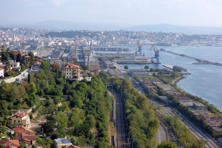 Panoramic view photo of Rijeka Fiume harbour in Croatia summertime