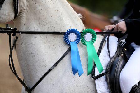 Dumne odznaki na zwycięskich koniach na torze wyścigowym