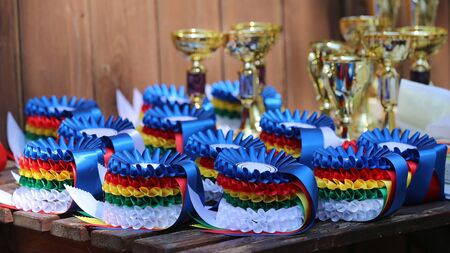 Group of horse riding equestrian sport trophies badges rosettes at equestrian event