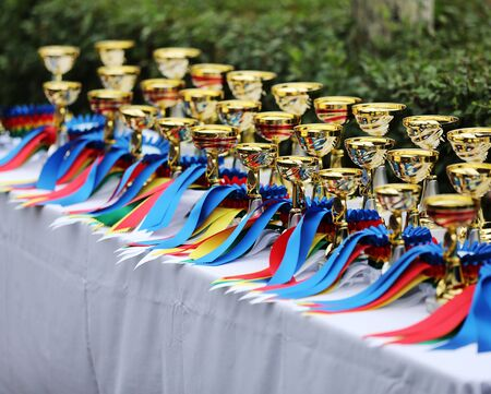 Beautiful colorful awards on the table to the winners of the races on racetrack Stok Fotoğraf