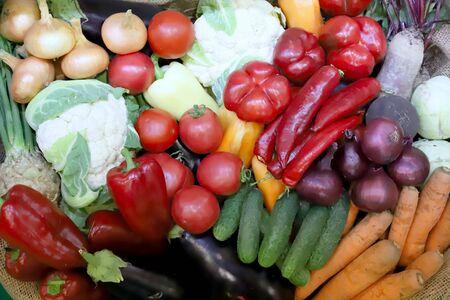 Various freshly picked  harvested vegetables in basket as a background. Autumn foods products as a background. Healthy organic harvest vegetables and ingredients as seasonal cooking ingredients