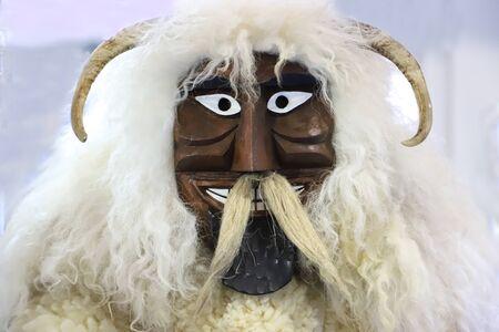 Original hungarian buso mask on white background