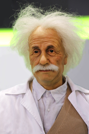 BUDAPEST, HUNGARY - October 06, 2019: Made wax head of Albert Einstein, physicist, chemist and mathematician, International Fair Centre