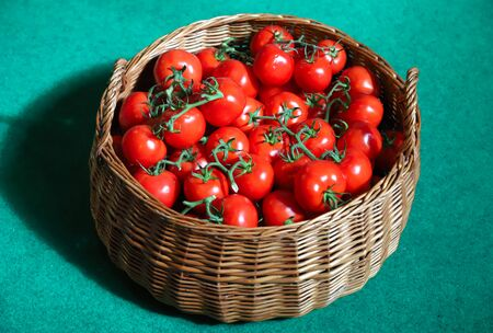 Red tomatoes in basket on green background 스톡 콘텐츠