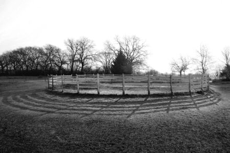 Round pen for horse exercise and training on frosty morning wintertime in sunrise. Against morning sun
