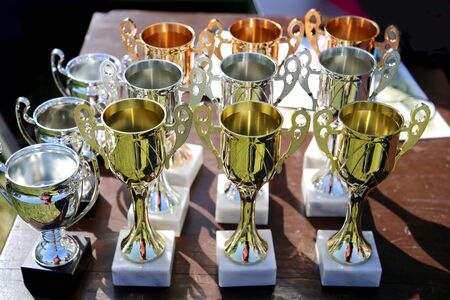 Golden cups for winners of equestrian sport as horse event background Фото со стока