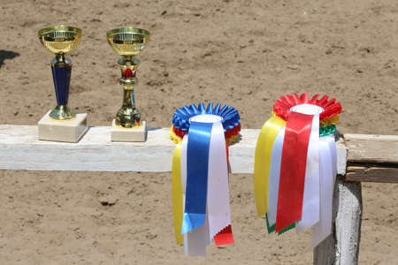 Group of horse riding equestrian sport trophies and badges rosettes at equestrian event on white wooden fence 版權商用圖片