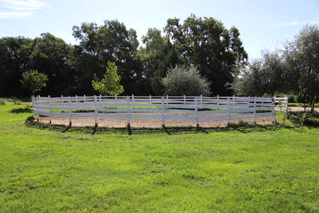 Photo of round pen outdoors ready for an equestrian training