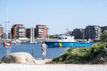 Malmo, Sweden - August 14, 2020: Swedish coast guard boat in the Cementa harbor Editorial