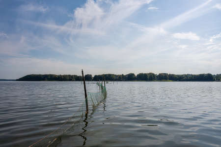A beautiful scenery of a fishing net in a lake one of the latest days of summer. Picture from Ringsjon, Scania, southern Sweden. Blue sky meets blue water