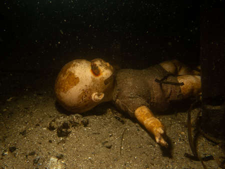 A scary doll underwater at a wreck dive. Picture from The Sound outside Malmo, southern Sweden