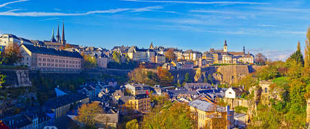luxembourg: Panorama of the district Grund and the old town of Luxembourg city