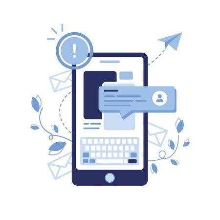 Vector banner illustration of email marketing message concept. Letter, envelope. Phone Newsletter. Chat Bot, dialogue, sms, communication, user. Pop-up window. Study online.