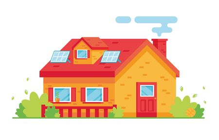 Vector illustration of a cartoon bright apartment building. Two-storey house. Exterior. Solar panels on the roof of the house. On white background. Caring for nature, eco. Red and yellow. Eps 10