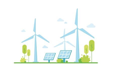 Renewable energy, solar panels. Clean electric energy from renewable sources wind. Eco friendly. Green zone. Protecting and caring for nature. Climate support. On white background. Blue Eps 10