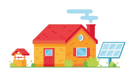 Vector illustration of a bright cartoon apartment building. Two-storey house. Exterior. Blue Solar panel. On white background. Well in the yard. Caring for nature, eco. Red and yellow. Eps 10 Stock Illustratie