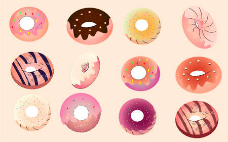Cartoon donuts background Illusztráció