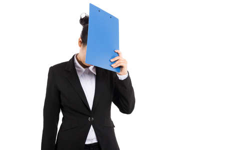 Business woman hold with folder Stock Photo