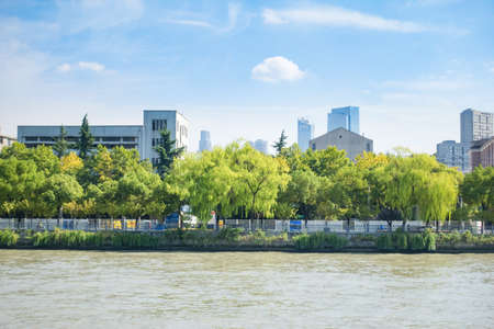 urban building and trees at riverside