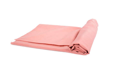Pink cotton linen on a white background. Banque d'images