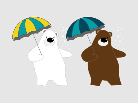 Vector illustration of cute polar bear cartoon character with umbrella on gray background.
