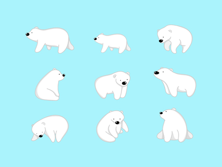 Vector illustration of cute bear cartoon character on blue background. Stock Vector - 115605851
