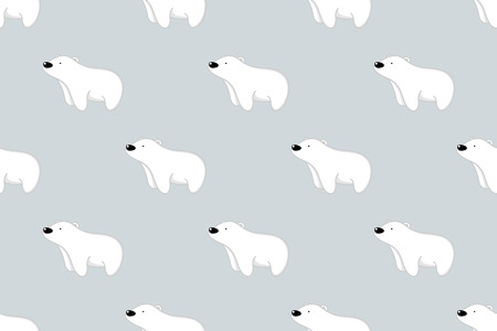 Seamless pattern, vector illustration of cute bear cartoon character on gray background. Illustration