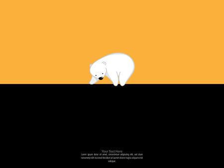 vector illustration.Greeting card with cute polar bear.